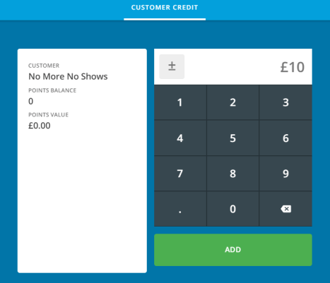 Epos now payment screen for Deposit on restaurant bookings