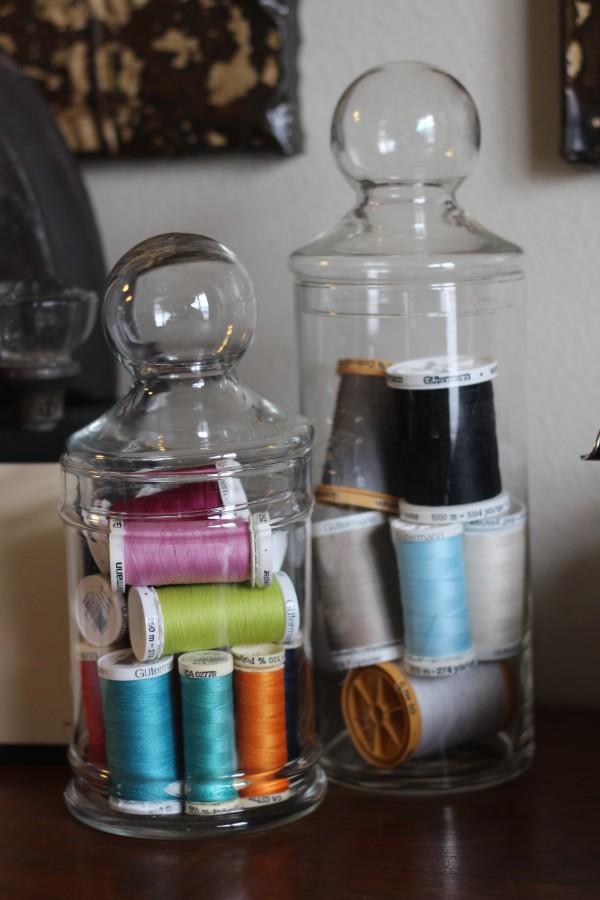 repurposed old jar for a retail display
