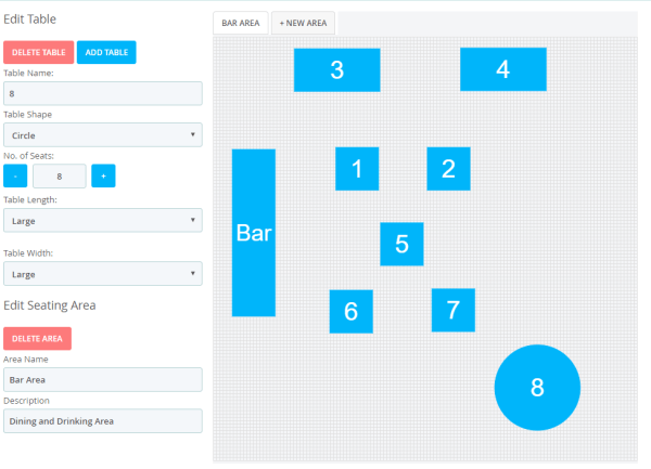 Epos Now Table Plan screen with editing sidebar